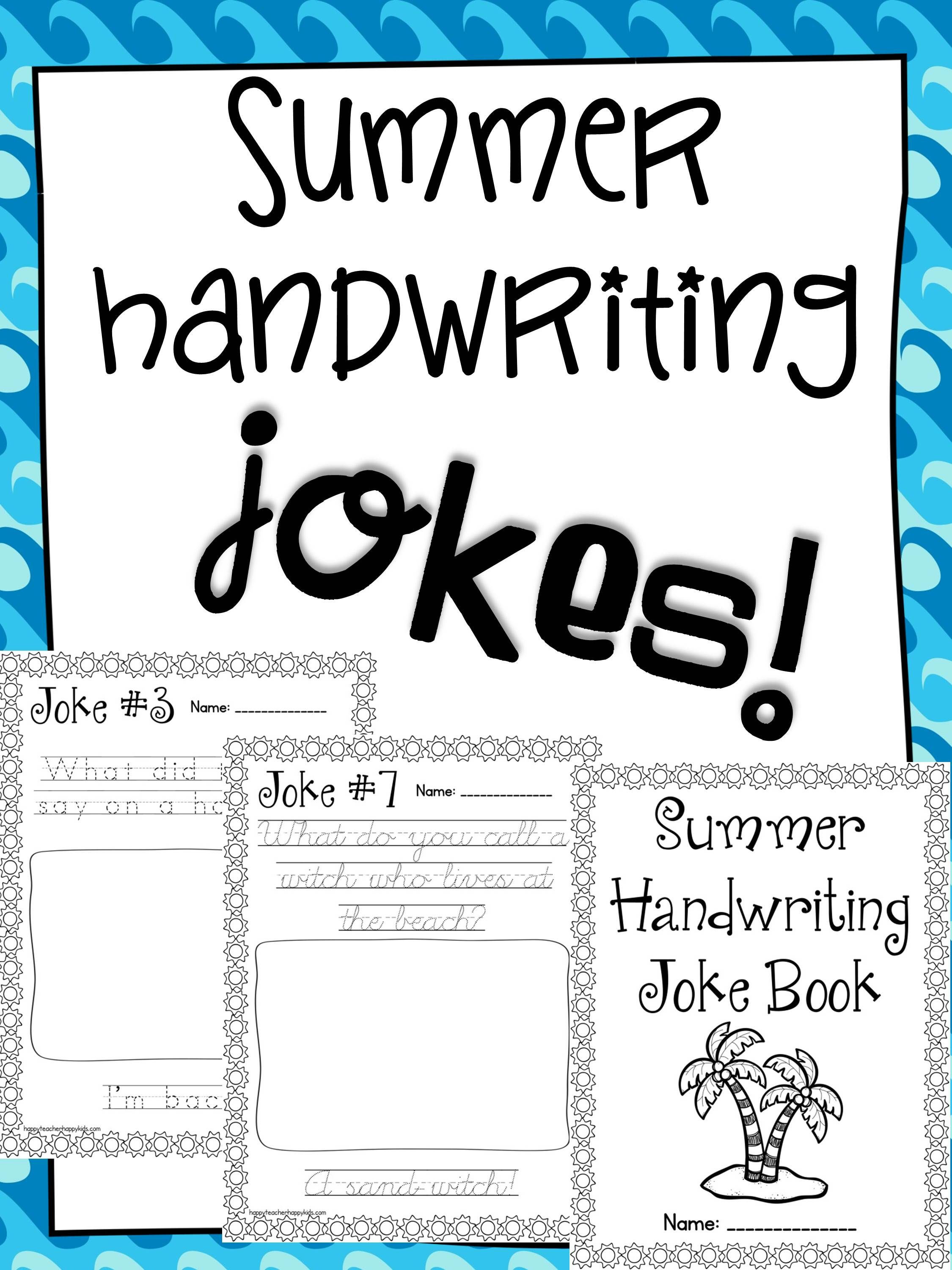 Free Summer Handwriting Joke Book Over On My Facebook Page
