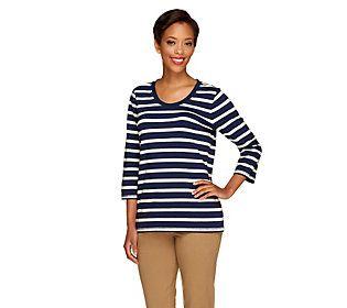 Denim & Co. Essentials Perfect Jersey Striped Top
