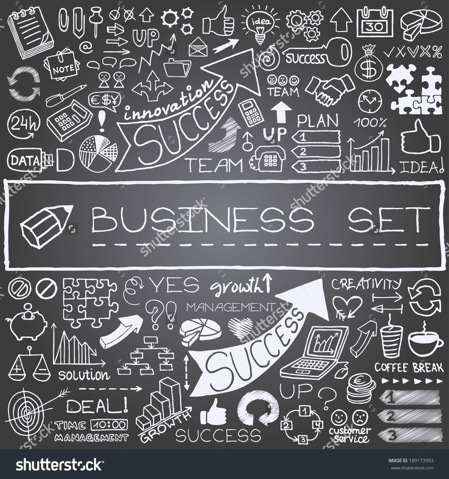 Hand drawn business icons set. Includes arrows, diagrams, puzzle ...