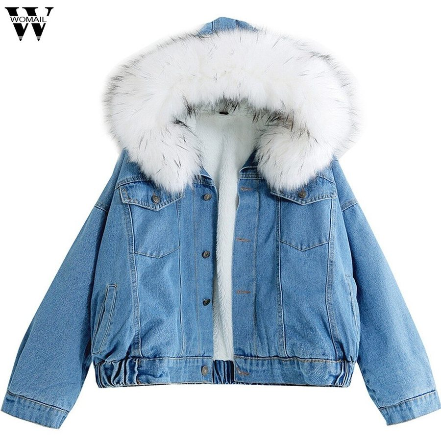 Jeans Hooded Coat Female Faux Fur Collar Padded Warm Denim Jackets Denim Jacket Women Denim Jacket With Fur Jean Jacket Women [ 900 x 900 Pixel ]