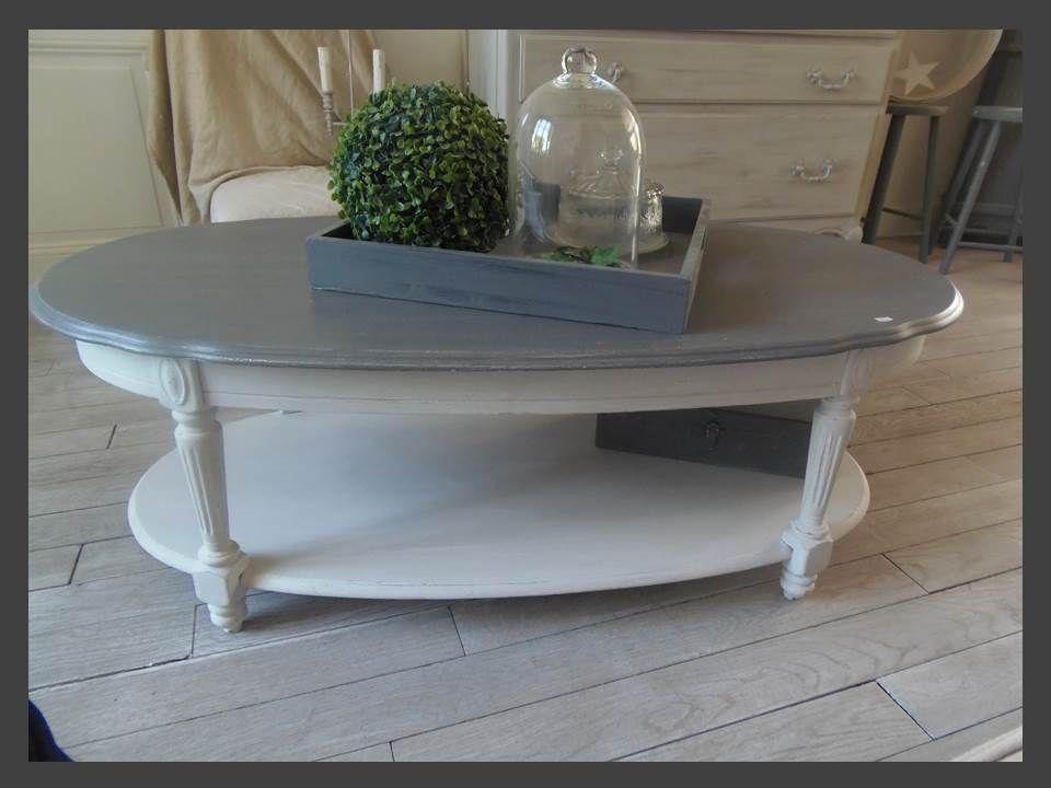 table basse atelierdes4saisons patin e gris galet blanc poudr plateau gris zinc table. Black Bedroom Furniture Sets. Home Design Ideas