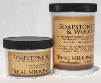 Real Milk Paint's Soapstone & Wood Sealer  This finish is
