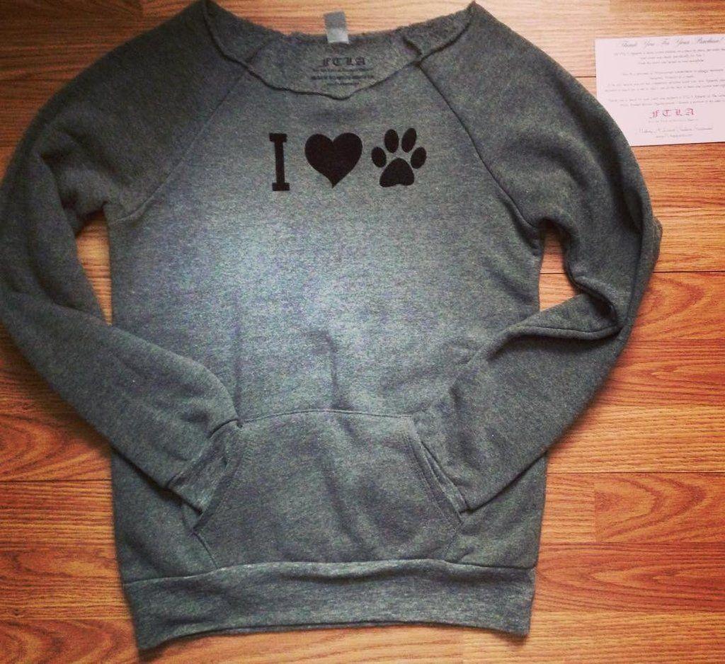 I Heart Paw Off the Shoulder Eco Fleece Sweatshirt