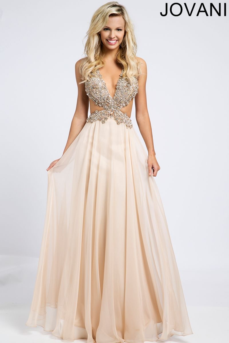 Jovani Blush Chiffon Cut-Out Side Dress 98123 | Prom/Homecoming ...