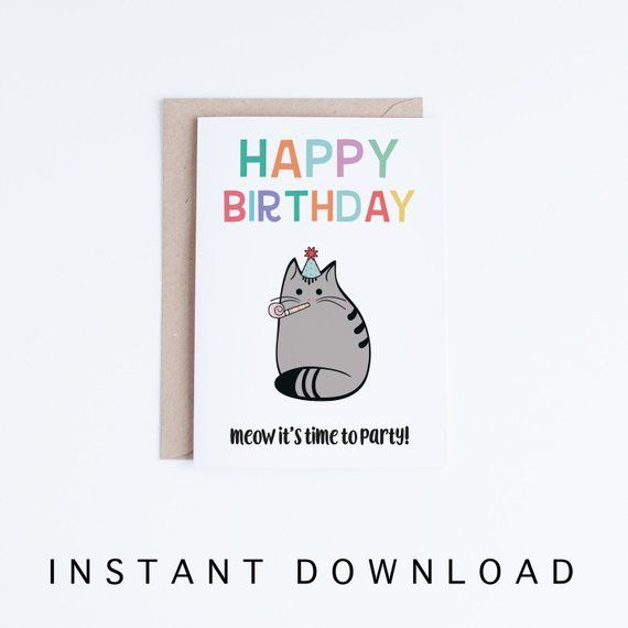 graphic relating to Cat Birthday Card Printable named Joyful Birthday Social gathering Cat Card, Pleased Birthday Cat Electronic
