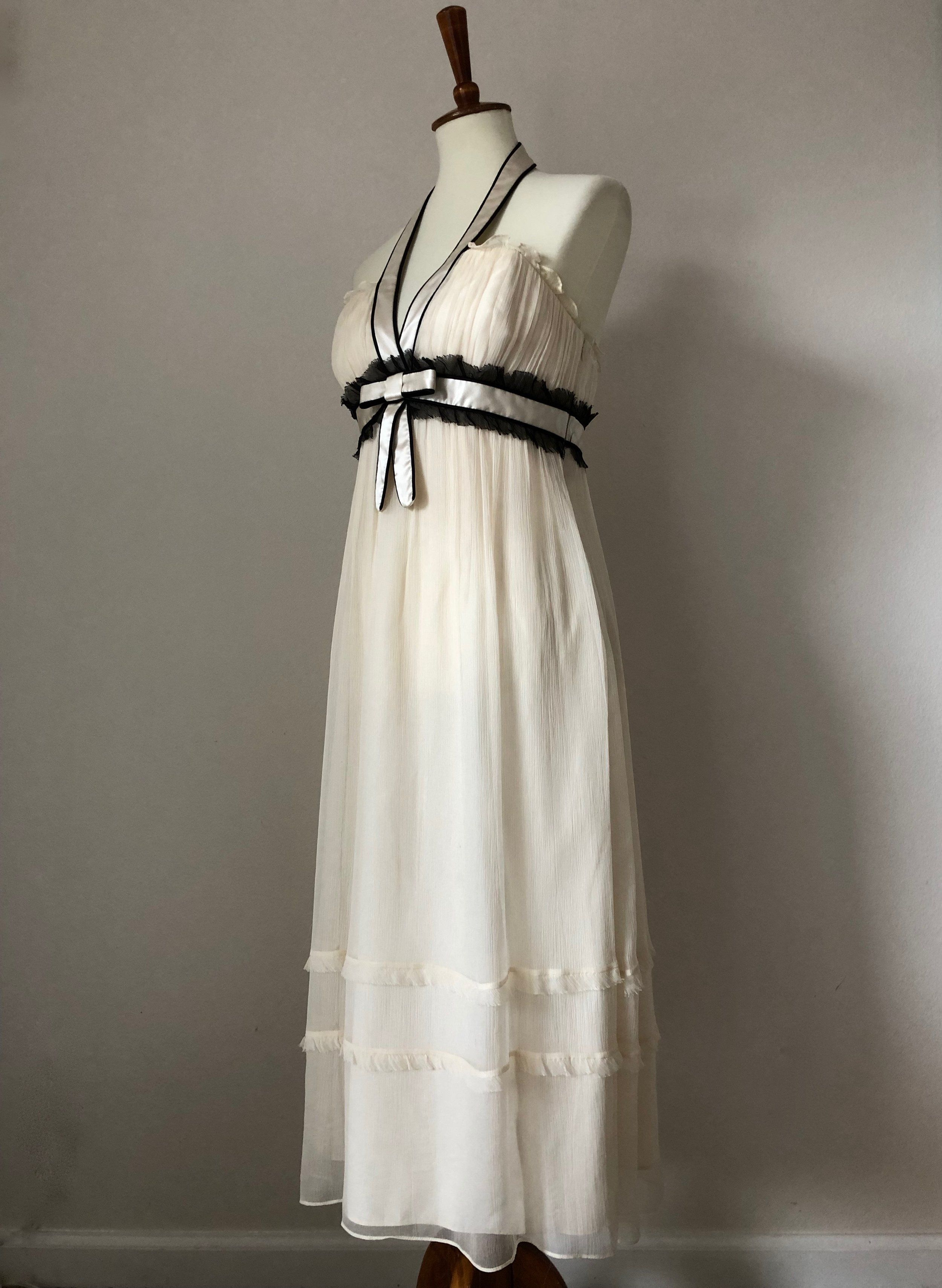 1271c7738ad Laundry by Shelli Segal Ivory Chiffon Halter Dress w Contrast Black Details