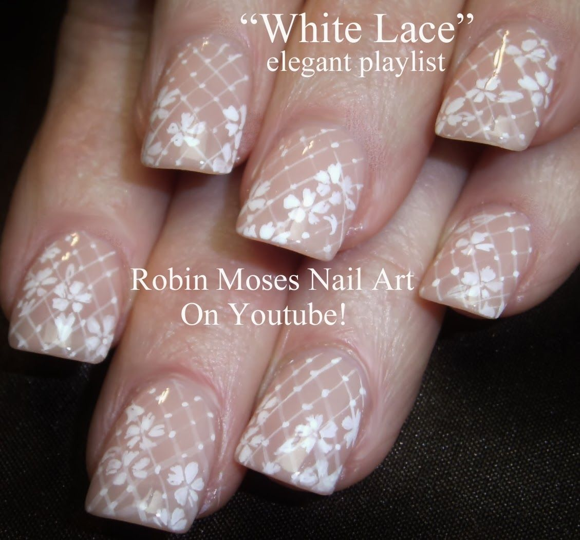 Nail Art By Robin Moses White Lace Valentines Day Nail Art