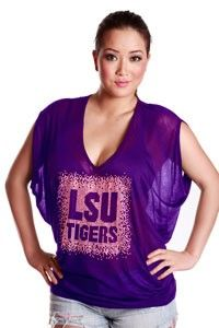 LSU Tigers deep v tee with rhinestud graphic detail