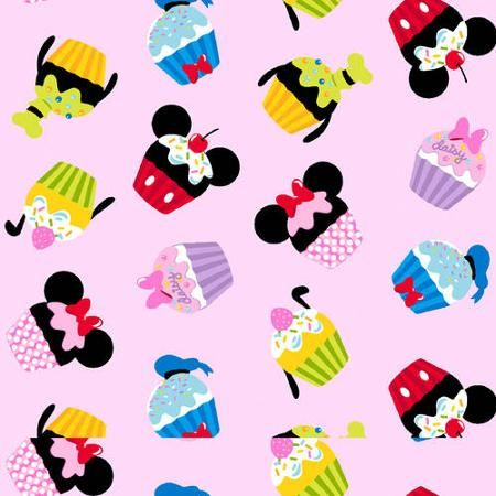 """Disney Mickey and Friends Cupcakes, Corduroy, Pink, 43/44"""" Width, Fabric by the Yard"""