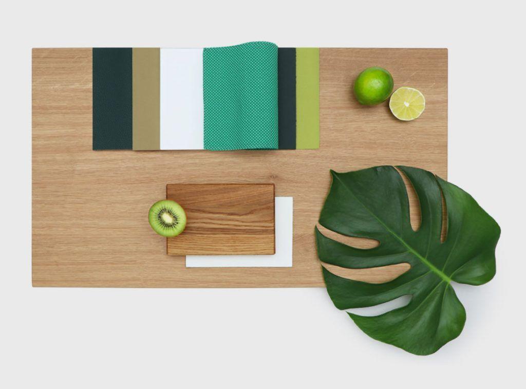 Eichenholz und Grüntöne Eiche, Akzentfarben und Farben