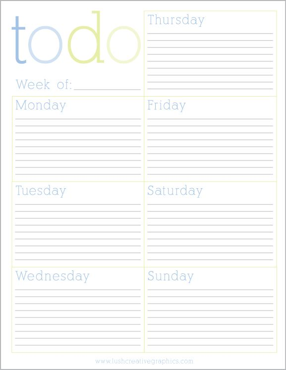 Free Printable Weekly To Do List from Lush Creative Printables - Free Printable Weekly Planner