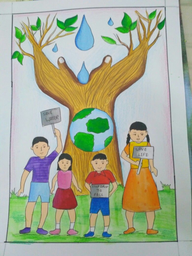 Memory drawing on topic save water