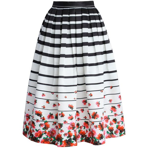 e792e3e848 Chicwish Falling Roses Striped Printed Midi Skirt ($48) ❤ liked on Polyvore  featuring skirts, bottoms, saias, multi, mid-calf skirt, striped pleated  skirt, ...