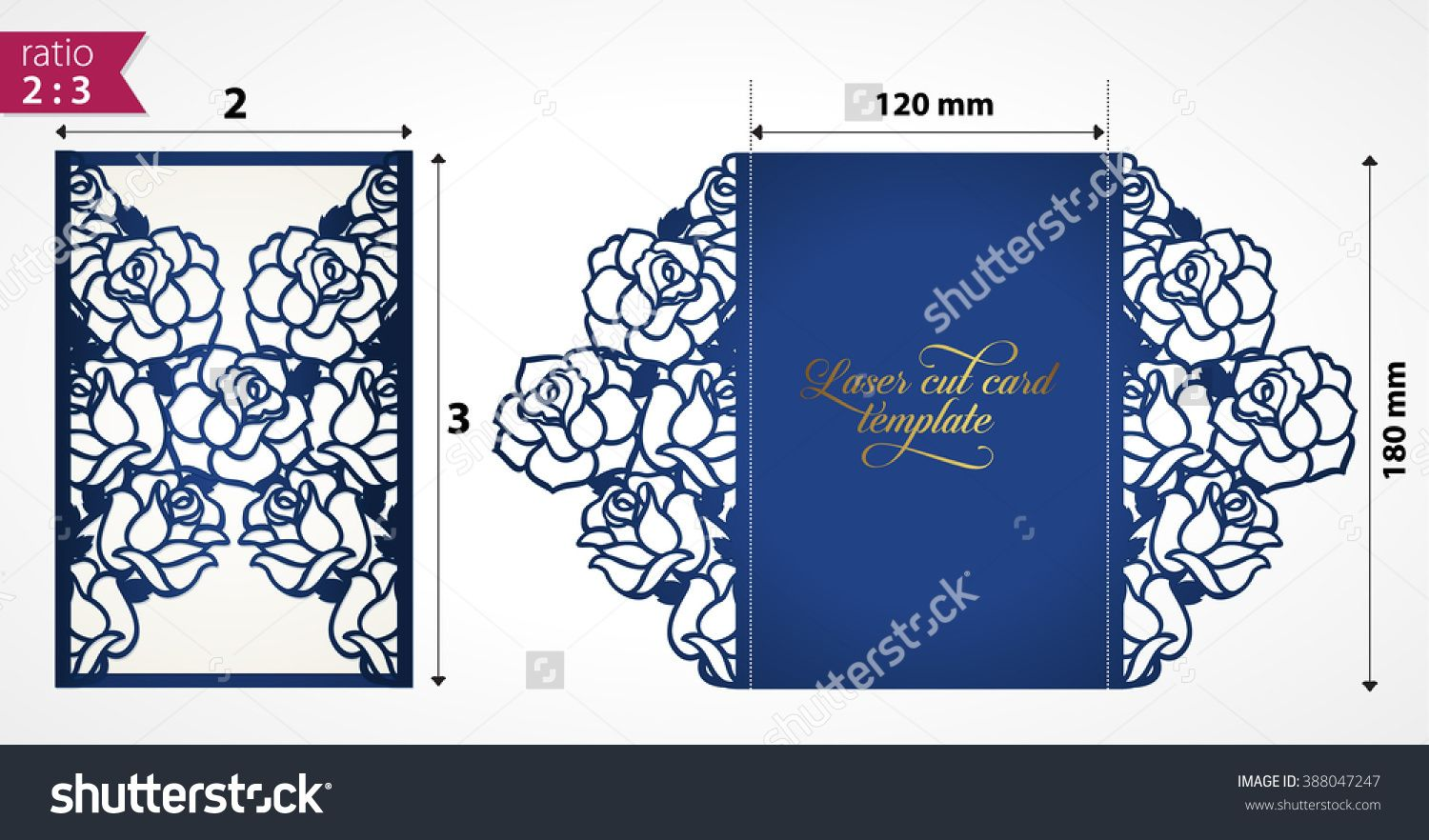 Laser cut wedding invitation template with roses vector floral die laser cut wedding invitation template with roses vector floral die cut card mock up cutout paper card with rose flowers laser cut design stopboris Images