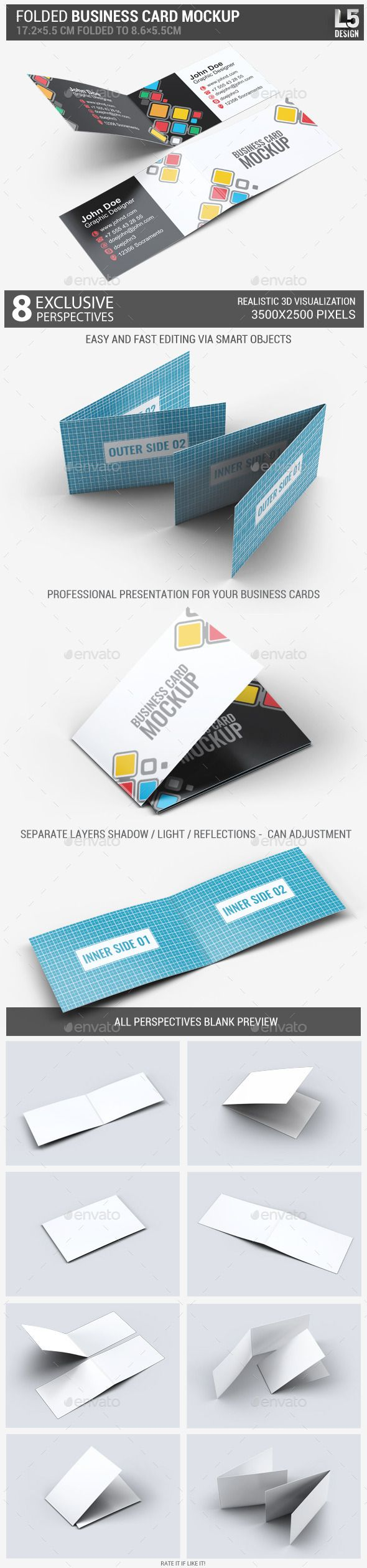 Folded Business Card Mock-Up | Folded business cards, Mockup and ...