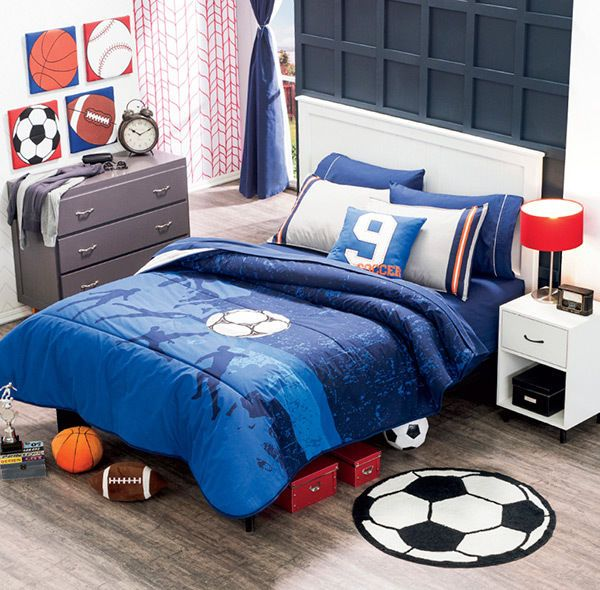 superior Soccer Comforter Full Part - 6: Twin and Full Boys and teens Soccer Comforter Set #VNG