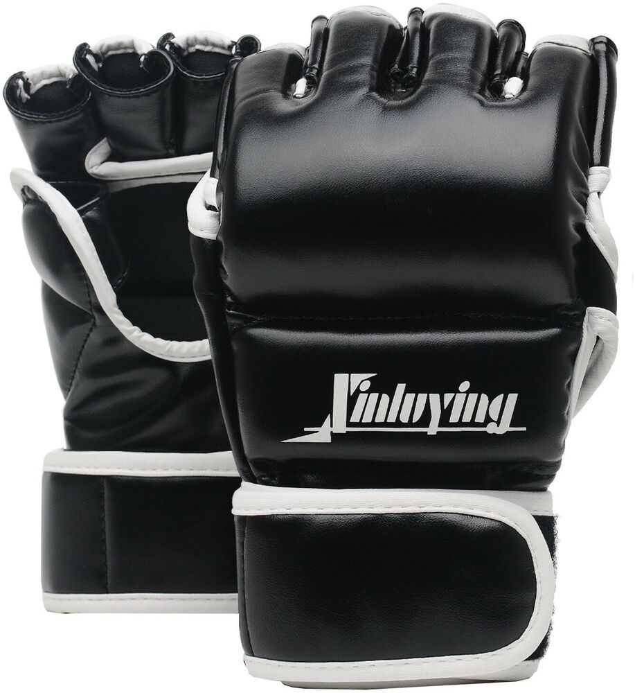 Leather Boxing MMA Half Mitts Gloves Grappling Fighting Punch Bag Training Black