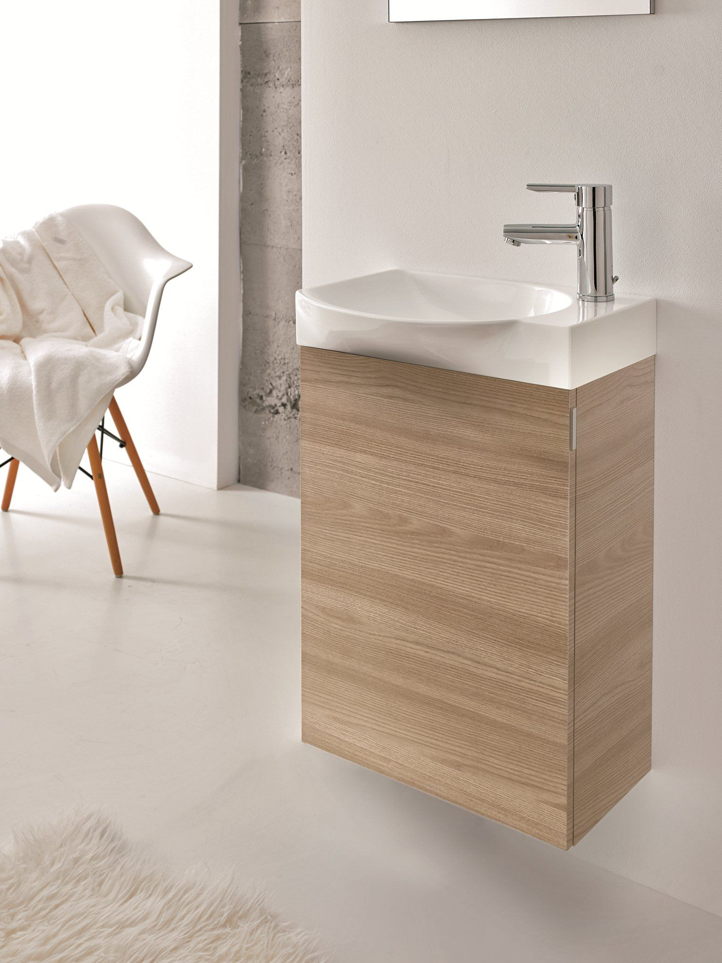 Unique Style 18 Inch Wall Mounted Walnut Modern Bathroom Vanity