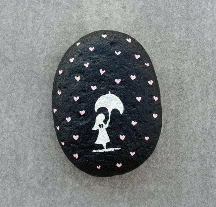 steine bemalen schöne weiße motive DIY Ideen für Kinder Pinterest - ideen mit steinen
