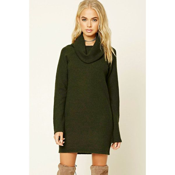 Forever21 Cowl Neck Sweater Dress ($28) ❤ liked on Polyvore ...