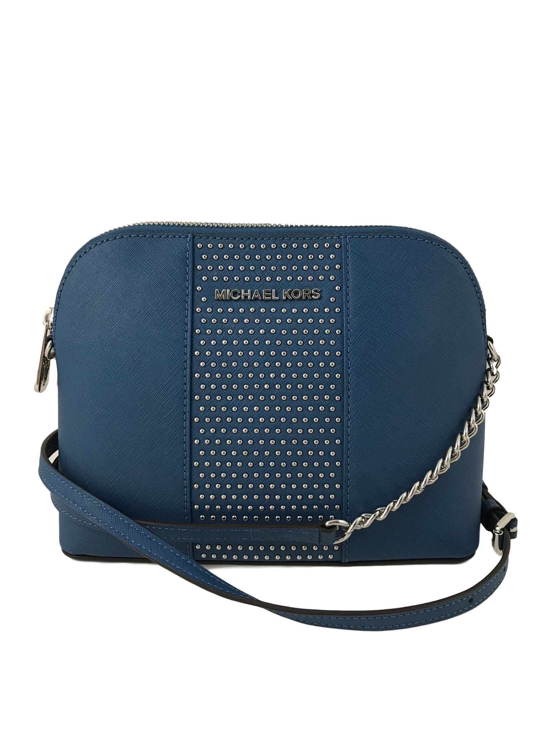 520c9f293d5b ... wholesale michael kors micro stud cindy lg dome crossbody bag in steel  blue steel blue ac469