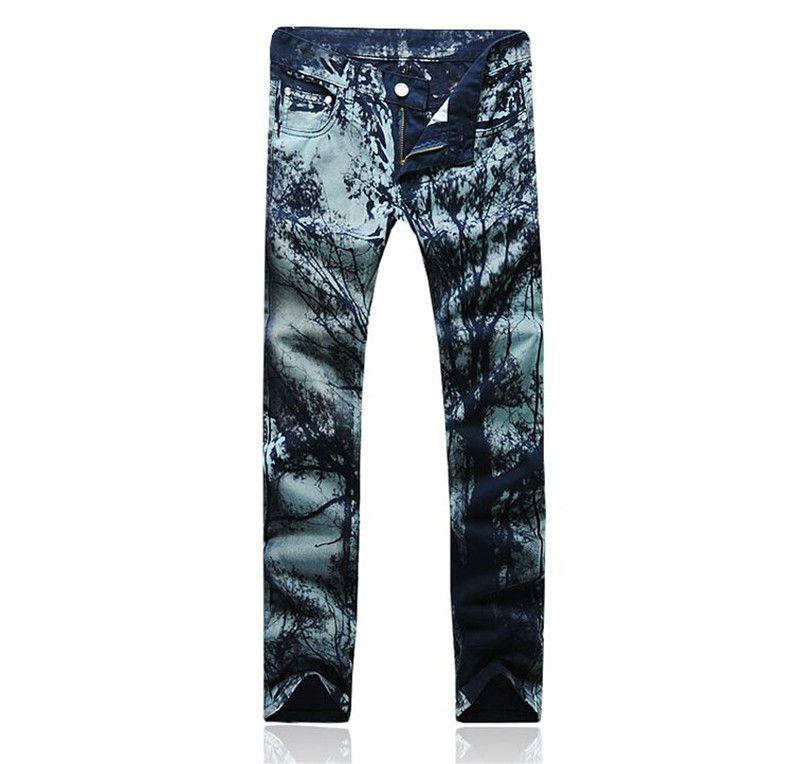 Jeans para hombre 2015 nueva impresión floral Jeans hombre hombres coreanos  de Jeans hombres ropa de sport Jeans tallas grandes 28 36 en Jeans de Moda  y ... e601bd48e404