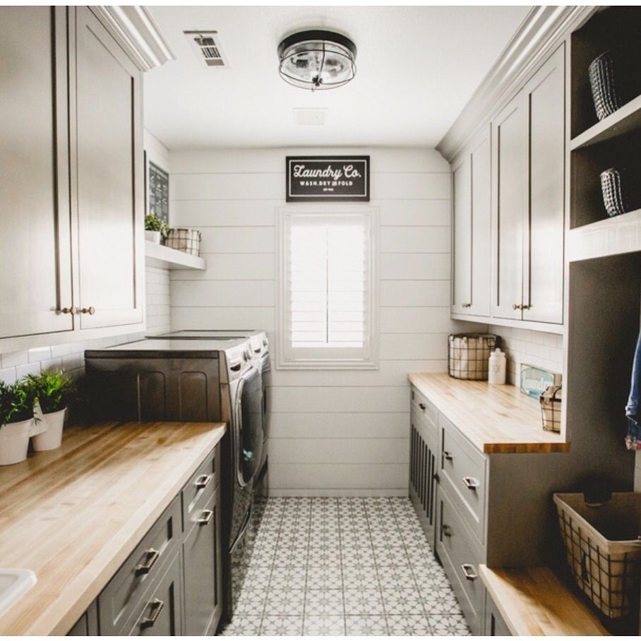 Hartland Kitchen And Laundry Room Remodel: Patterned Geometric Floor Tile, Butcher