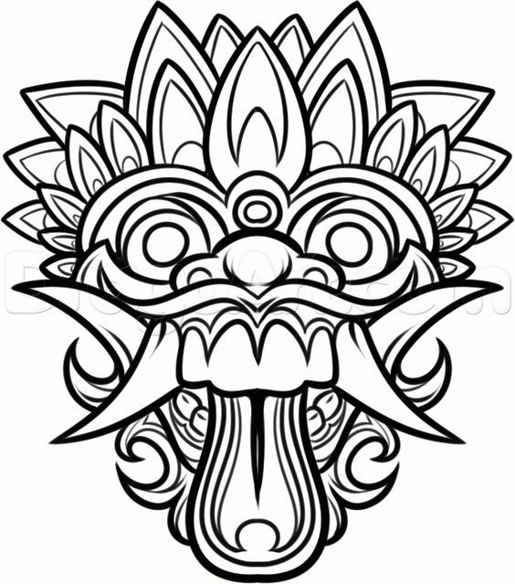 Dragon Masks to Color | Chinese Dragon Mask Drawing How to ...