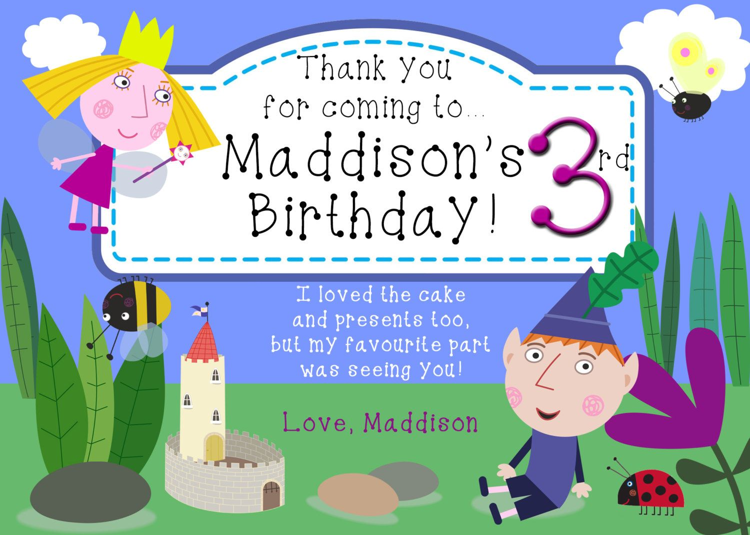 Customised Ben And Holly S Little Kingdom By Artworkbyanti On Etsy Ben And Holly Printable Birthday Invitations Birthday Thank You Cards