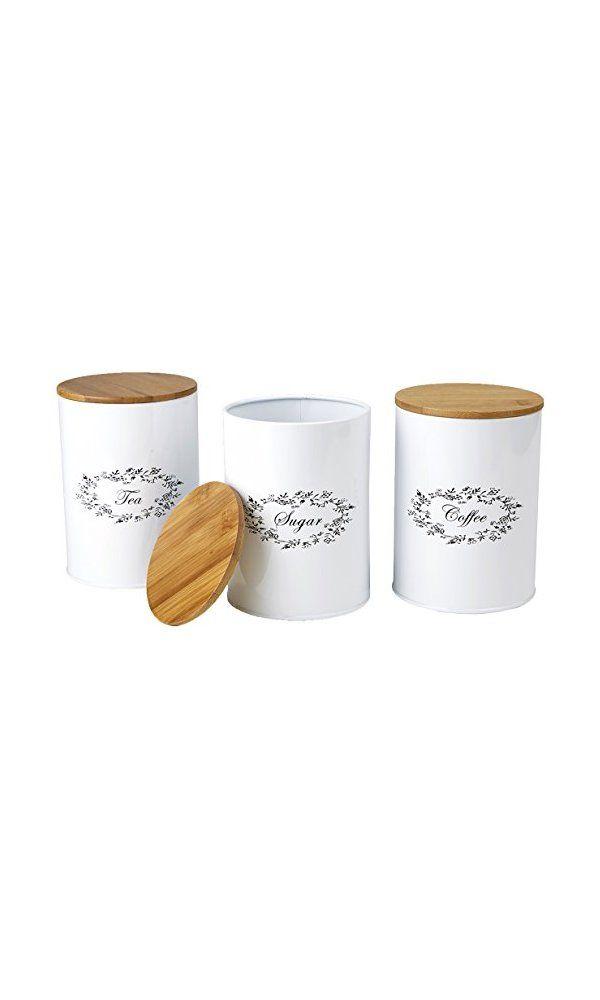 Mind Reader 3 Piece Sugar Tea Coffee Metal Canister Set White Deal Price