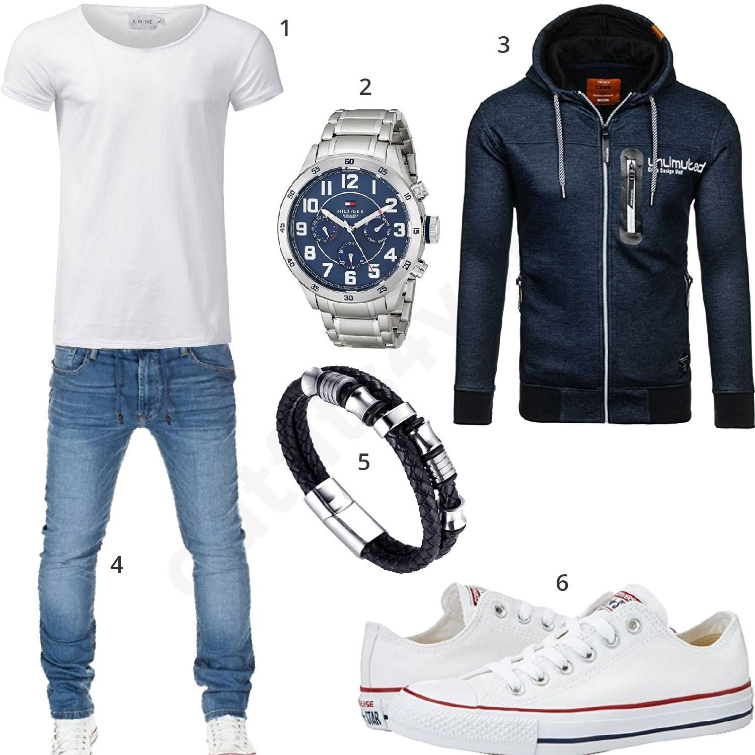 herren style mit wei em crone shirt tommy hilfiger uhr blauem bolf pullover wotega jeans. Black Bedroom Furniture Sets. Home Design Ideas