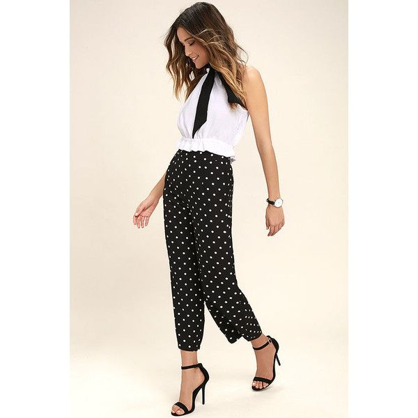 Hollaback Black and White Polka Dot Culottes ($46) ❤ liked on Polyvore featuring pants, capris, black, high rise pants, woven pants, black white polka dot pants, lulu pants and black and white pants
