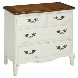 """With a distressed oak finish and brass hardware, this 4-drawer chest brings a touch of country-chic appeal to your guest room or master suite.   Product: ChestConstruction Material: Hardwood solids, engineered wood and oak veneersColor: White and naturalFeatures:  Four drawersBrass hardwareDistressed finish Dimensions: 32"""" H x 36"""" W x 18.5"""" D"""