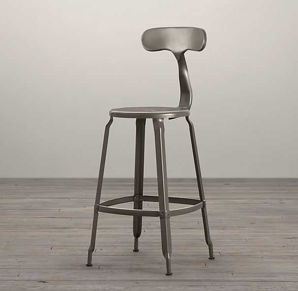 French T Back Counter Stool Gun Metal Http Www