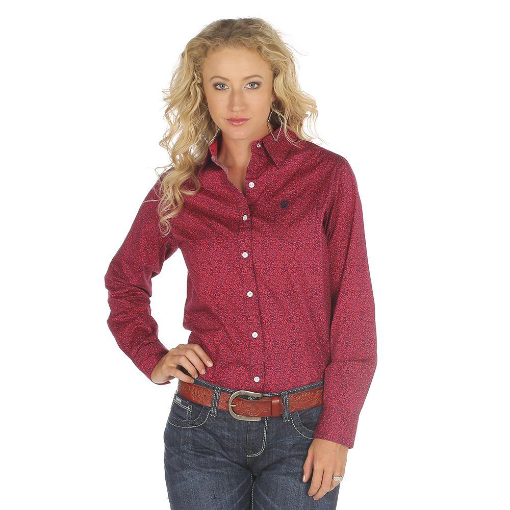 Flannel cardigan womens  Womenus Wrangler George Strait Red Paisley Shirt  I Wear What I
