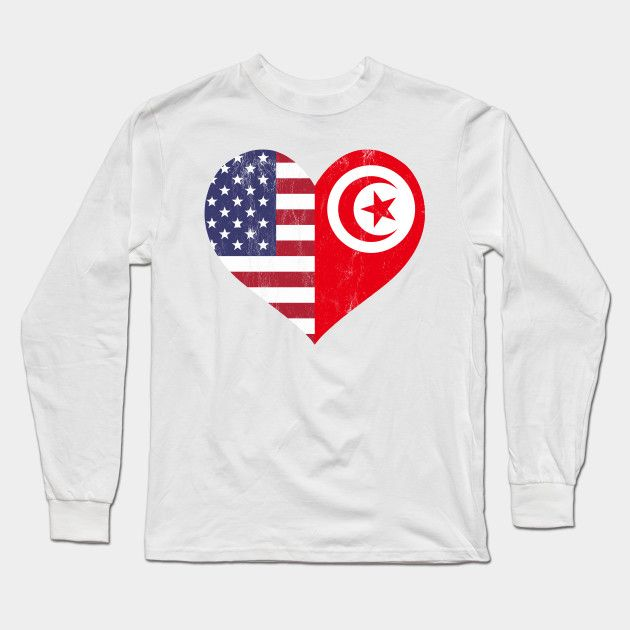 Tunisian American Flag Usa Tunisia Love Heart Flag T Shirt Long Sleeve T Shirt