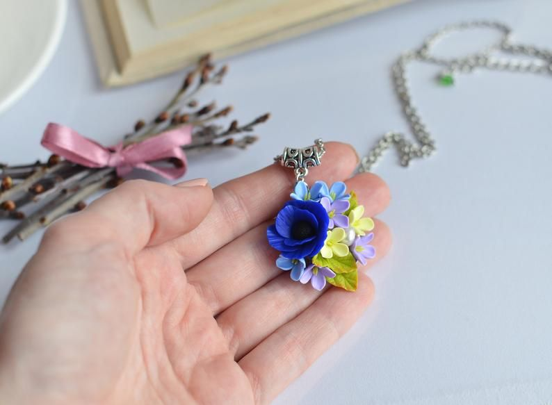 Anemone Pendant Blue Flower Necklace Clay Floral Jewelry Real Etsy Real Flower Jewelry Floral Jewellery Succulent Jewelry