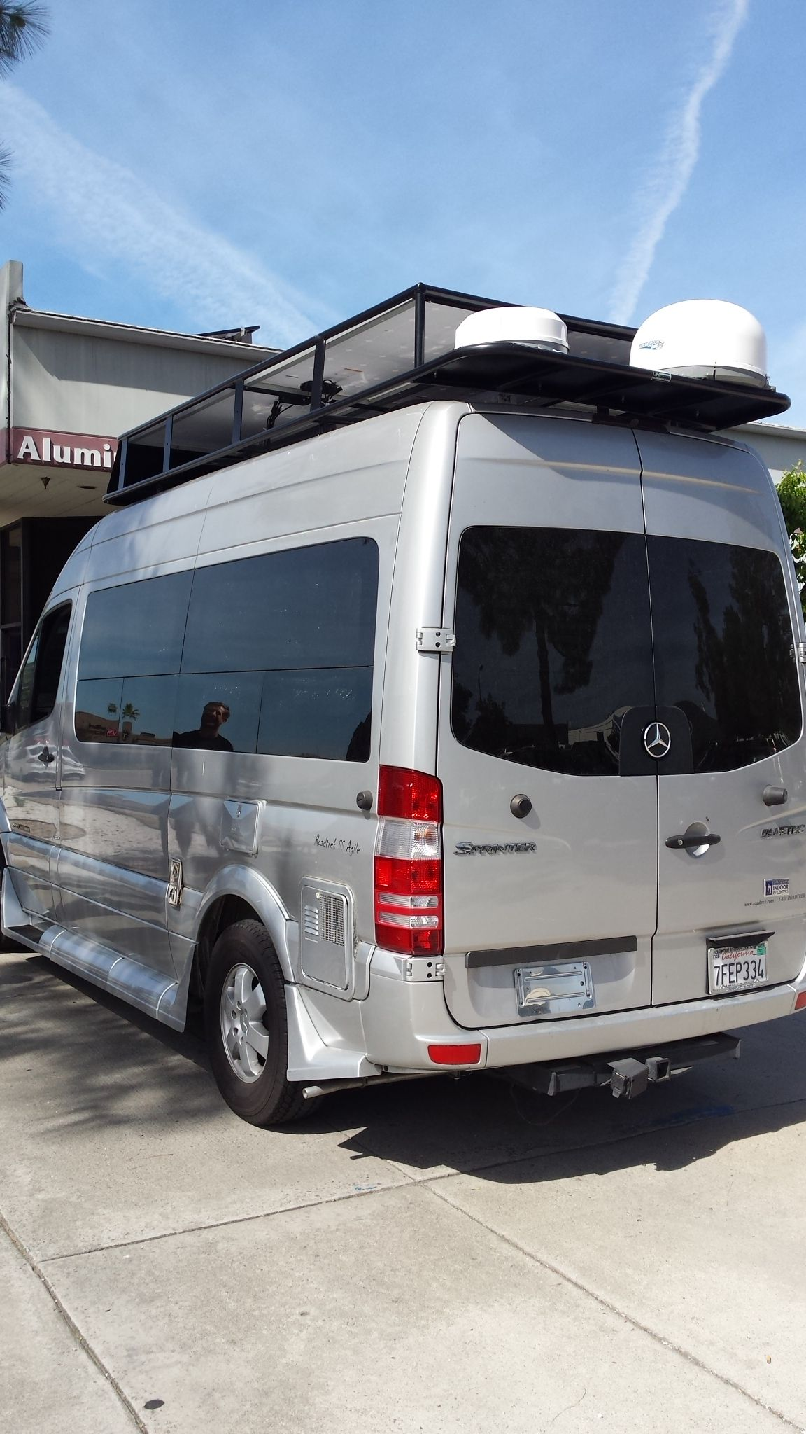 Roadtrek with aluminess roof rack custom built to for Mercedes benz roadtrek