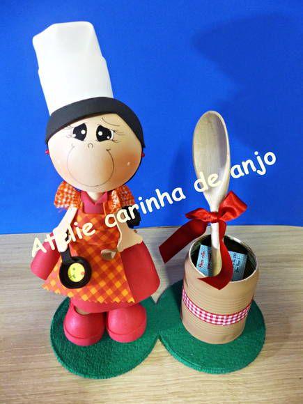 Fofucha cozinheira para cha de panela | Atelie Carinha de anjo | 2DC87C - Elo7