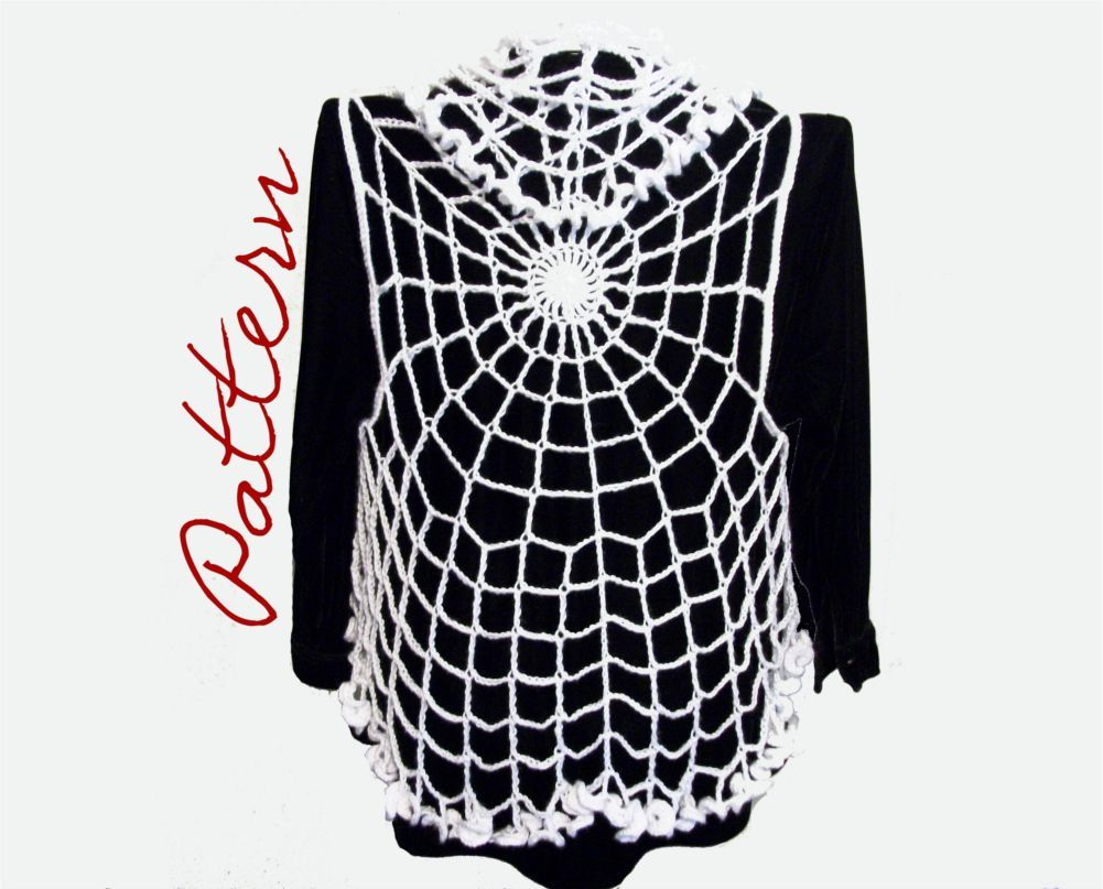 Pdf crochet pattern spiderweb lace vest with ruffled edges goth pdf crochet pattern spiderweb circle vest gothic halloween all sizes adult diy halloween costume bankloansurffo Image collections