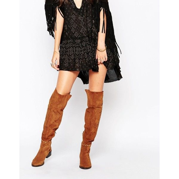 Buy Women Shoes / Carvela Will Tan Studded Suede Flat Pull On Over The Knee Boots
