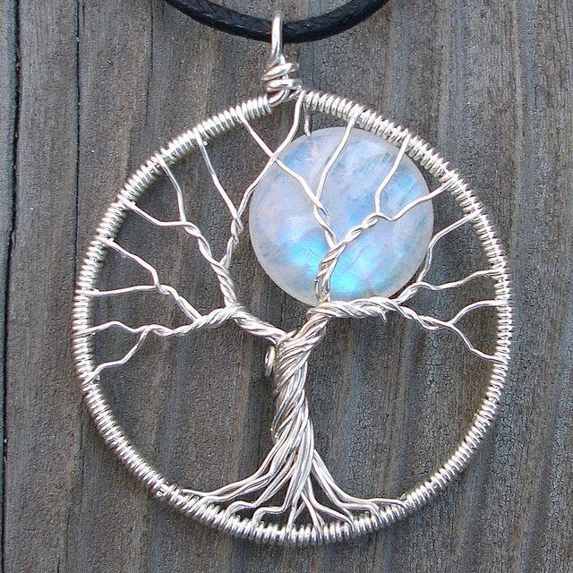 Moonstone tree of life earrings