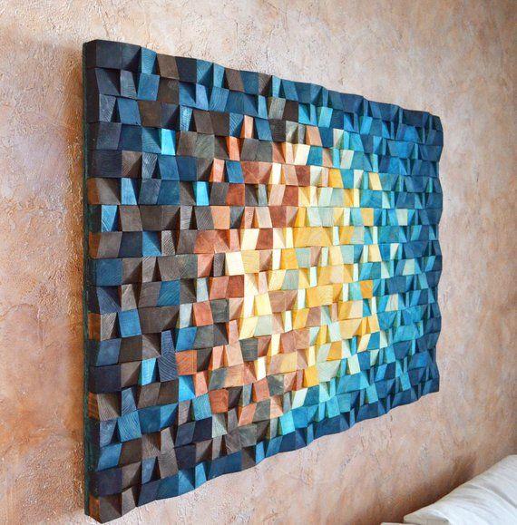 Lunivers – art de mur en bois dans le brun orange jaune bleu marine, sculpture de mosaïque de bois, peinture abstraite sur le bois, décor dart de mur 3 d
