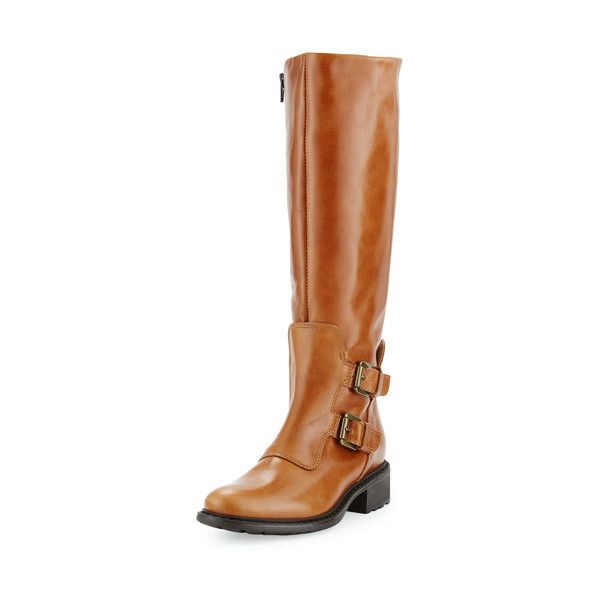 Charles David Perina Mid Calf Leather Boot, Cognac ($250) ❤ liked on Polyvore featuring shoes and boots