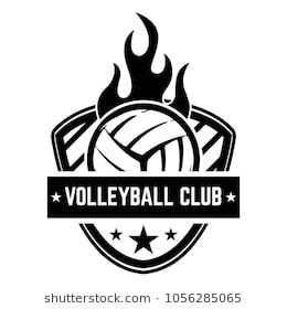 Emblem template with volleyball ball isolated on white