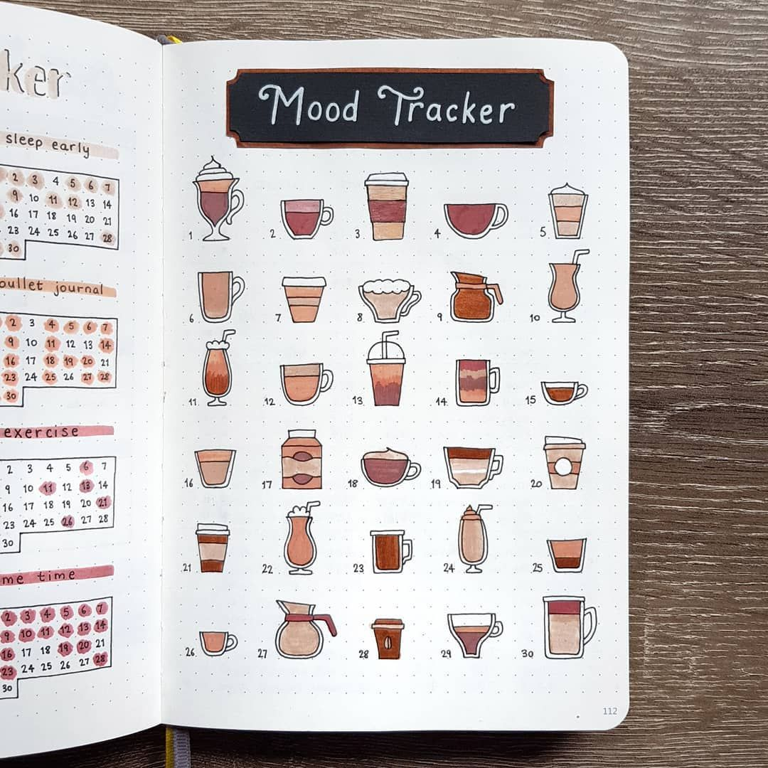 """Lisa � on Instagram: """"Here is last month's completed Mood Tracker! I did black coffee for bad days and whiter coffee for good moods � . . . #bulletjournal…"""""""