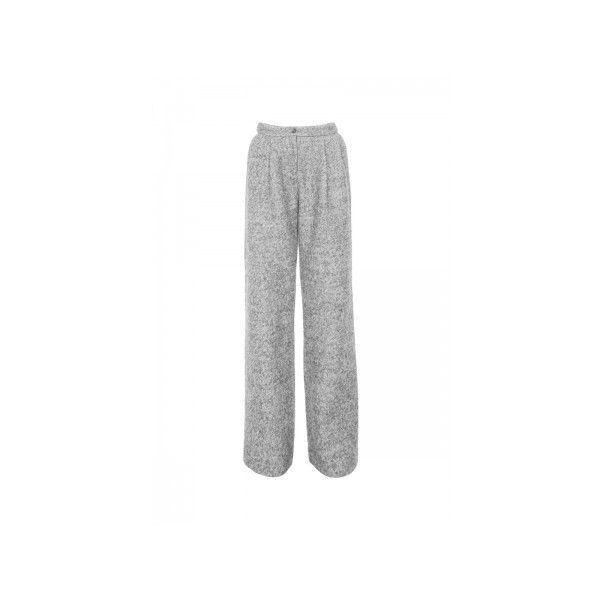 FRS Grey Tweed Wide Leg Trouser (4.295 RUB) ❤ liked on Polyvore featuring pants, gray pants, loose pants, loose fitting pants, grey tweed pants and gray trousers