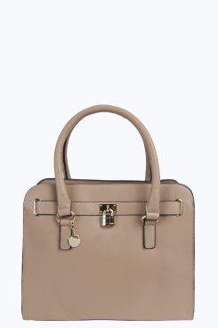 Erin Structured Day Bag With Padlock Detail At Boohoo
