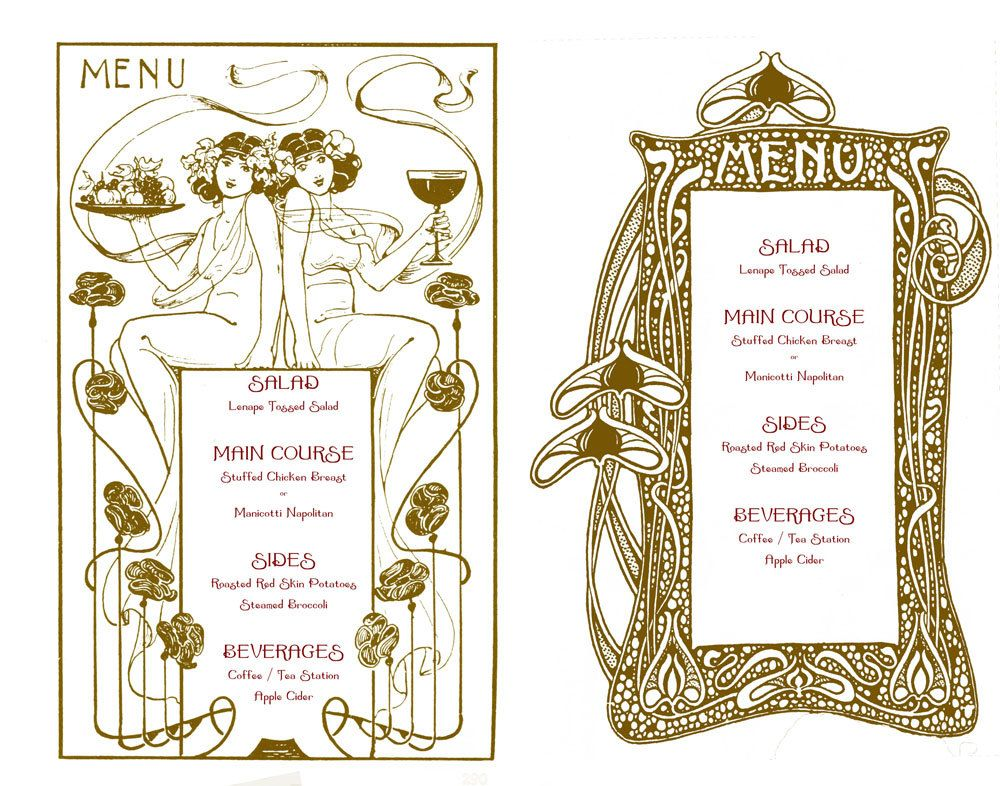 Art Nouveau Wedding Menu Template 15 00 Via Etsy