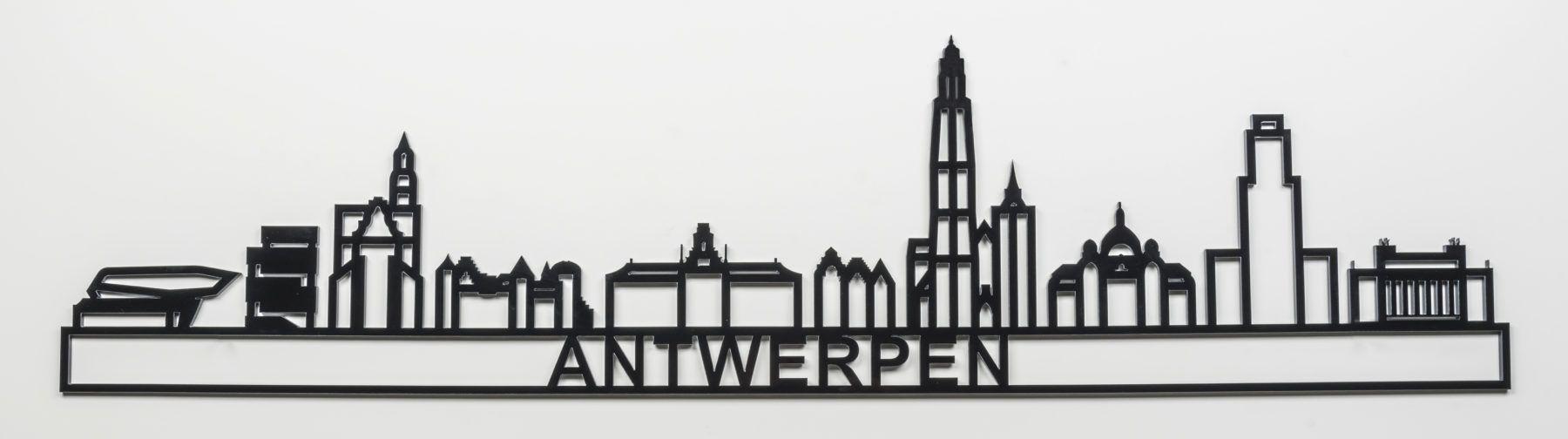 De Skyline Van Antwerpen Bestaat Onder Andere Uit De Iconen De Grote Markt De Onze Lieve Vrouwekathedraal Station Antwerpen Skyline Antwerpen Poster Ideeen